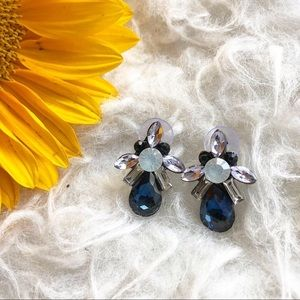 Jewelry - Deep ocean blue statement earrings rhinestone